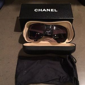 Chanel black sunglasses with silver cc logo